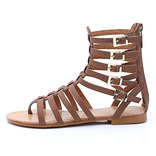 Boots Gladiator Out High Flat Summer Knee Women's Cut 1620 Brown Sandals fereshte 8gqwa7x