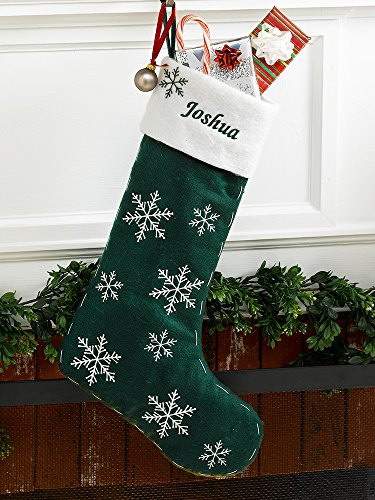 Green Felt Personalized Christmas Stocking Snowflakes