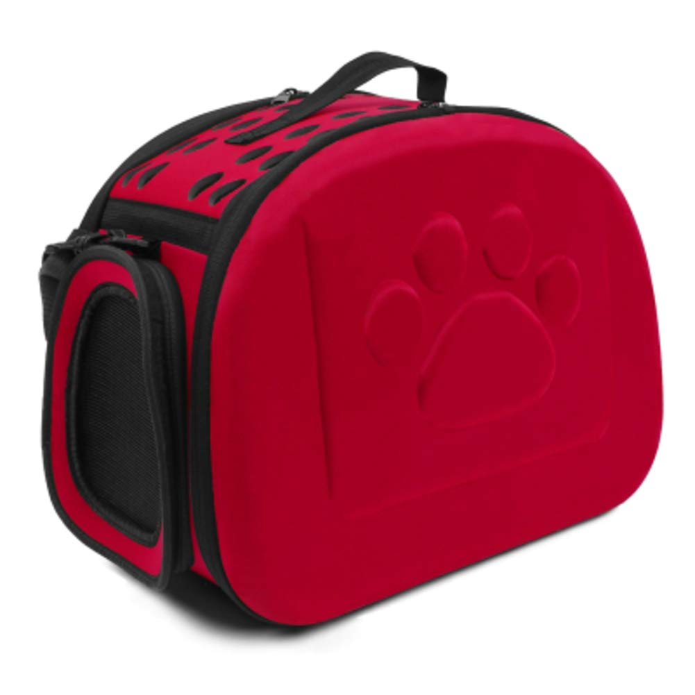 Red 42x26x32cm red 42x26x32cm Collapsable Travel Pet Carrier,Hard Cover Portable Tote Soft Breathable Comfort Transport Shoulder Bag for Small cat Dogred 42x26x32cm