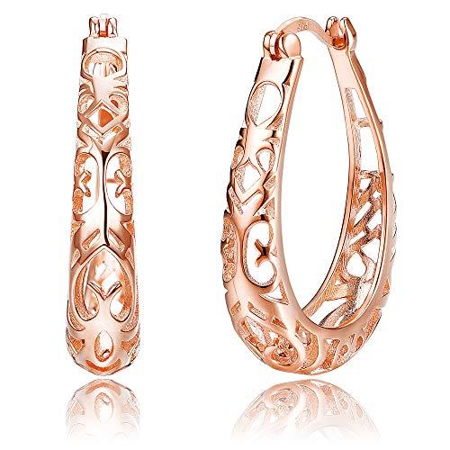 Sllaiss 925 Sterling Silver Filigree Hoop Earring for Women Girls Rose Gold Plated Gift for Women