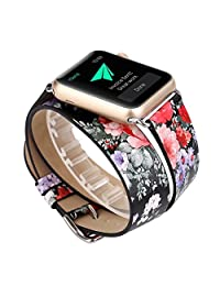 TCSHOW For Apple Watch Band 42mm,42mm Doulbe Tour Soft PU Leather Pastoral/Rural Style Replacement Strap Wrist Band with Silver Metal Adapter for both Series 1 and Series 2