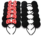 12pcs Mickey Minnie Mouse Ears Solid Black and Bow Headband for Boys and Girls