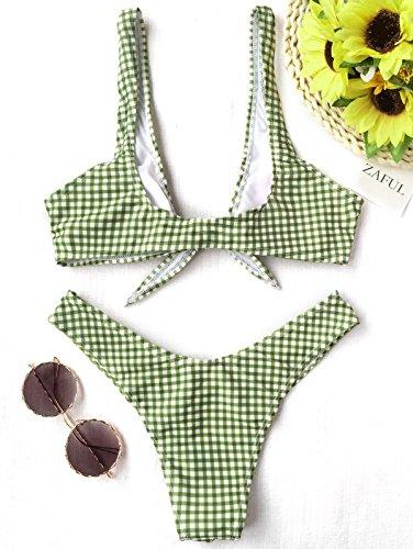 Thong Beachwear Triangolo Costumi CharMma Plaid pezzi Swimwear Top Due e Donna Imottito Bagno Slip Set Tagliato Nodo Bikini Spiaggia per da Verde Alto nX8rU8q