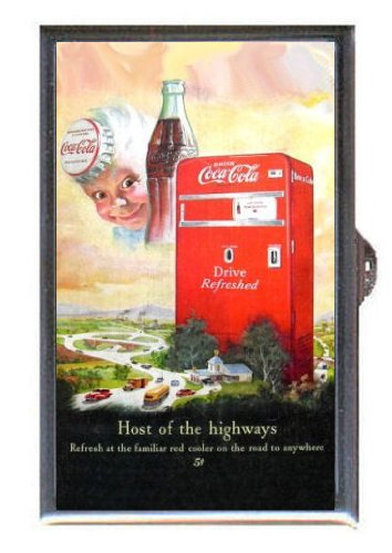 COCA-COLA 1940s VENDING MACHINE VINTAGE AD Guitar Pick or Pill Box USA Made