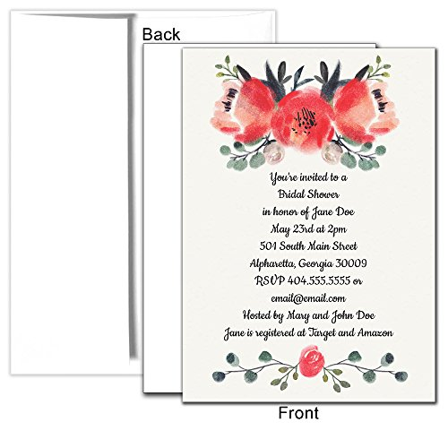 Watercolor Roses Personalized Custom Invitations, 25ct - Bridal Shower, Birthday Party, Anniversary, Baby Shower, Any Occasion