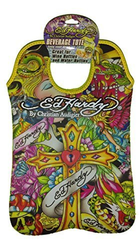 Ed Hardy Designs By Christian Audigier Neoprene 2 Bottle Wine Beverage Tote (Tatto Cross) by Ed Hardy (Ed Hardy Wine compare prices)