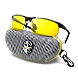 BLUPOND Night Driving Glasses - Semi Polarized Yellow Tint HD Vision Anti Glare Lens - Unbreakable Metal Frame with Car Clip Holder - Knight Visor (MetalBlack, Yellow)