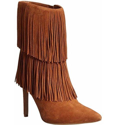 LINYI Botas De Borla De Las Mujeres Tacón De Aguja Tacón Alto Acogedor Zapatos De Viaje Otoño Invierno Brown