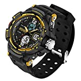 Kid LED Watch Child Boy Girl Sport Multi Function Analog-Digital Waterproof Electronic Quartz Watches-Yellow