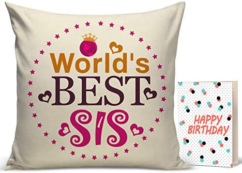 Buy TIED RIBBONS Birthday Gift For Younger Sister Printed Cushion12 Inch X 12 With Filler And Greeting Card Online At Low Prices In India
