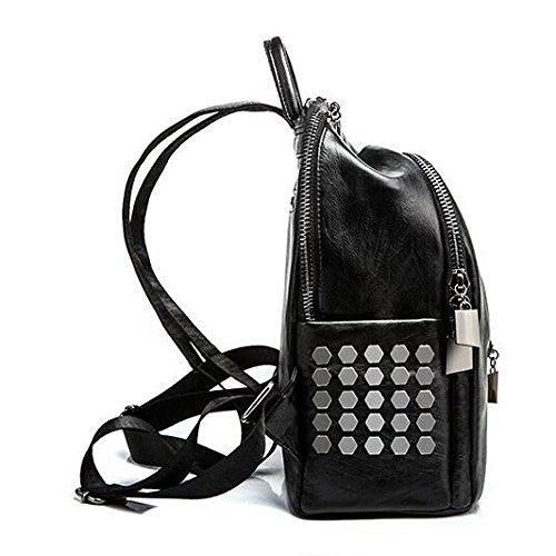 Cartable Sacs Féminine à Grande Mode Casual Dos Sac Cuir Black Fourre En tout Noir Capacité Mode 6Uqw5xwB