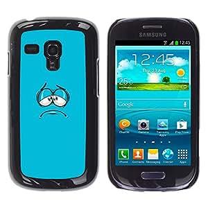 TopCaseStore / la caja del caucho duro de la cubierta de protección de la piel - Blue Cartoon Face Aqua Minimalist - Samsung Galaxy S3 MINI NOT REGULAR! I8190 I8190N