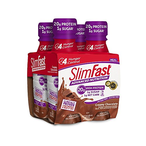 (SlimFast Advanced Nutrition Creamy Chocolate Shake - Ready to Drink Meal Replacement - 20g of Protein - 11 fl. oz. Bottle - 4 Count)
