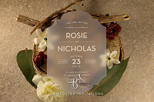 Acrylic Invitations, Frosted Chic Charm, Perfect for Weddings, Engagement, Bridal Shower Party by B Wedding Invitations, (BON17101-WH)
