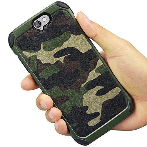HTC A9 Plus ,HTC A9 Camo Hülle Defender Shockproof Drop proof High Impact Rüstung Plastic und Leder TPU Hybrid Rugged Camouflage HandyHülle Schutz Cover Hülle für HTC A9 (5.5 inch) – Grun