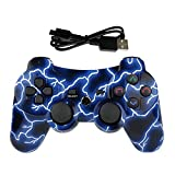 Lioeo PS3 Controller Wireless Gamepad for PS3 Game Controller Remote Control Support PS3 - Lightning Blue
