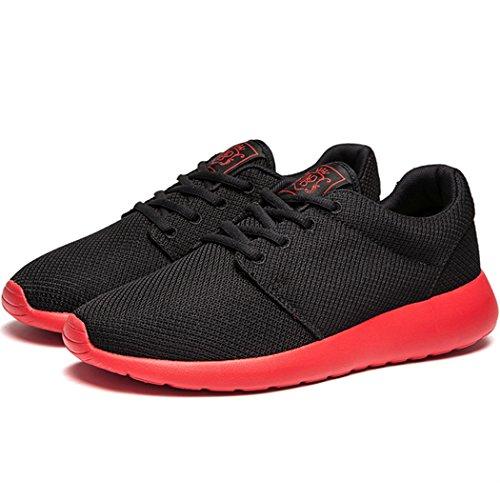 KENSBUY Adi Mens Breathable bequeme Lace-Up Laufschuhe, zu Fuß, Beach Aqua, Outdoor, Bewegung, sportliche Turnschuhe Schwarz Rot