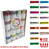 "Extra Large Home Moving Labels -800 Color Coded 16 Rolls – 50 Labels Par Roll - 4 Bedroom 3 Bathroom Box Stickers with Fragile Stickers |2.5"" x 4.5"" Size
