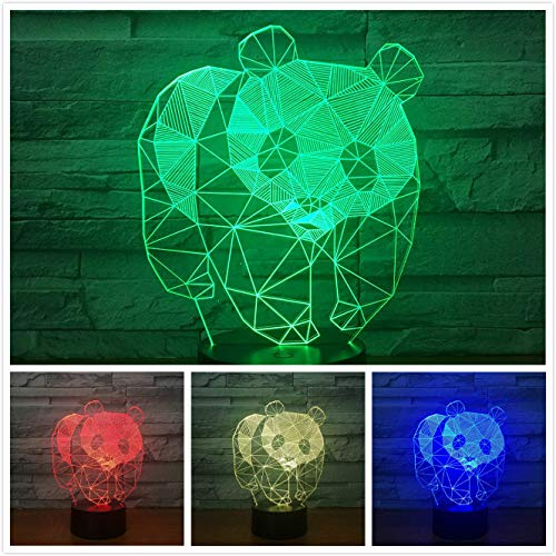 3D Panda Night Light Table Desk Optical Illusion Lamps 7 Color Changing Lights LED Table Lamp Xmas Home Love Brithday Children Kids Decor Toy ()