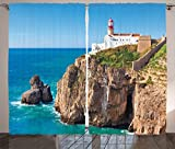Cheap Ambesonne Lighthouse Curtains, Daytime Rocky Lighthouse Shore Seaside Rocks Building Cliff Sunny Day Clear Sky, Living Room Bedroom Window Drapes 2 Panel Set, 108 W X 84 L Inches, Multicolor