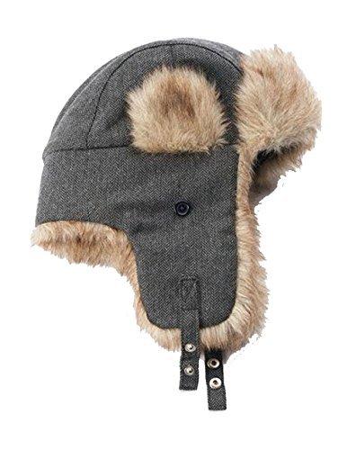 Urban Pipeline Men Herringbone Trapper Hat Boulevard Grey One Size Faux Fur