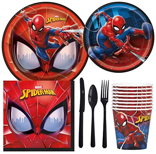 Marvel Spiderman Birthday Party Supplies Pack Including Cake & Lunch Plates, Cutlery, Cups, Napkins (8 -