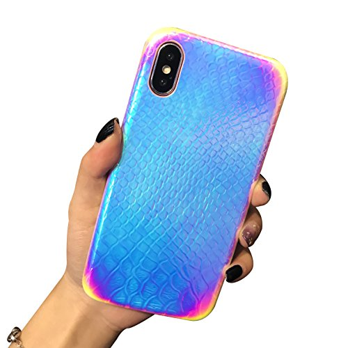 Holographic Mermaid iPhone X Case,iPhone 10 case, Easeu [Super Slim] [Gorgeous] Iridescent Back Cover [Color Changing] Crocodile Pattern Reflective Rainbow Case for iPhone X/ iPhone 10 5.8 inch