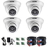 ZOSI 4 Pack 720P 1.0MP 4-in-1 TVI/CVI/AHD/CVBS Outdoor Indoor Surveillance Security Dome Camera Compatible for HD-TVI, AHD, CVI, and CVBS/960H analog DVR System