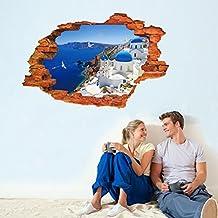 3D Mediterranean Landscape Fake Window Wall Decal Home Sticker PVC Murals Vinyl Paper House Decoration WallPaper Living Room Bedroom Kitchen Art Picture DIY for kids Teen Senior Adult Nursery Baby