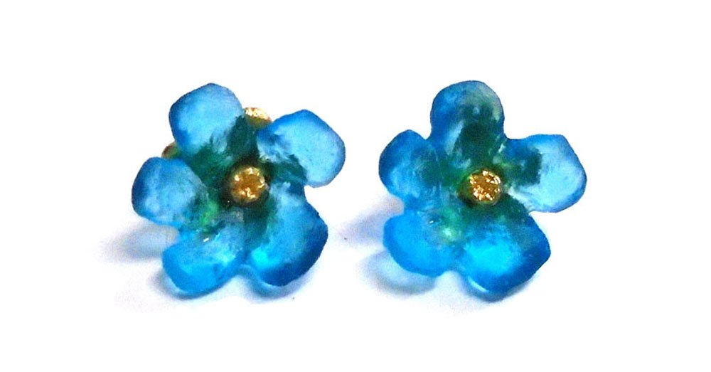 Michael Vincent Michaud- Glass ''Wildflower Stud Earrings'' in Turquoise