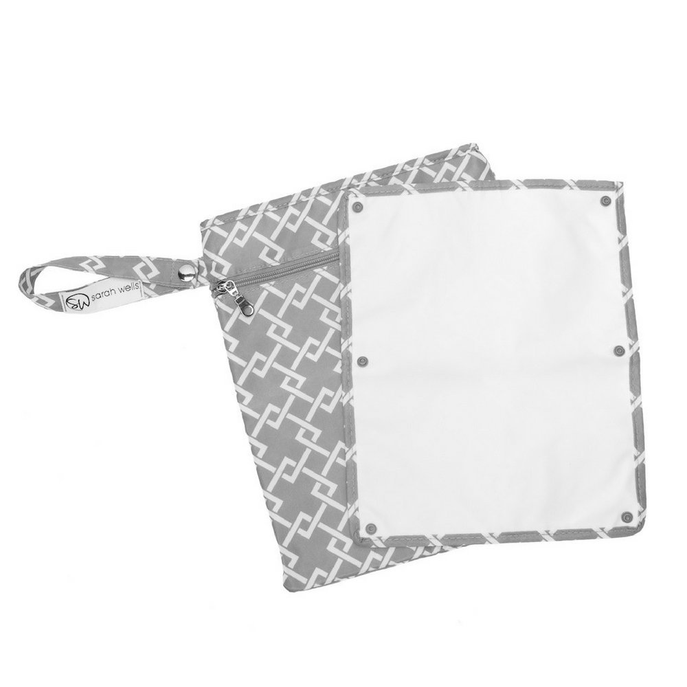 Sarah Wells Pumparoo Wet/Dry Bag for Breast Pump Parts (Black and White)