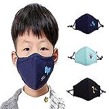 ZWZCYZ 3Pcs Kids Cartoon Cars Cotton Mask Children's PM2.5 Guaze Mask Dustproof Face Mask with N95 Filters (Black +Navy+Light Blue)