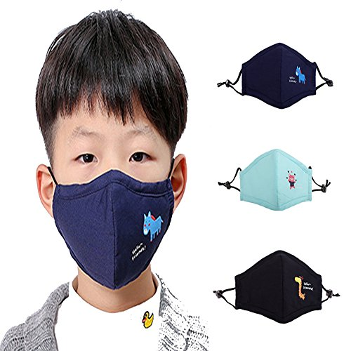ZWZCYZ 3Pcs Kids Cartoon Cars Cotton Mask Children's PM2.5 Guaze Mask Dustproof Face Mask with N95 Filters (Black +Navy+Light Blue) by ZWZCYZ