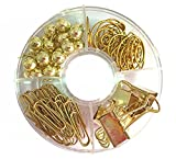 65 PCS Decorative Paper Clips and Set,Multi-Kind Push-Pin Map Tacks Long Tail Clip Paper Clip Pin Clip for School,Home & Office (Gold)