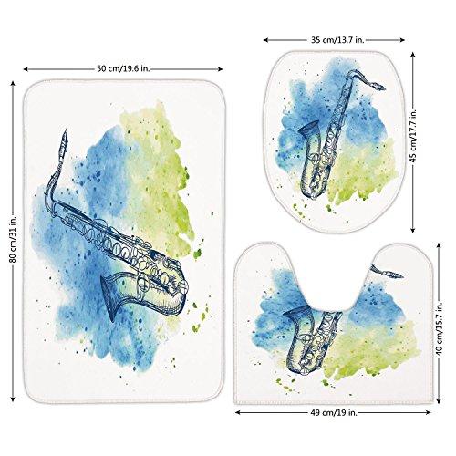 - 3 Piece Bathroom Mat Set,Jazz Music Decor,Watercolor Sketch Style Image of Saxophone Decorative Illustration Retro Decor,Blue Green White,Bath Mat,Bathroom Carpet Rug,Non-Slip