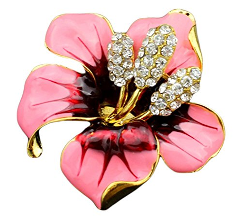 (Hosaire Women's Lily Flower Brooch Pin Rhinestones Breastpin for Wedding/Banquet/Bouquet Pink)