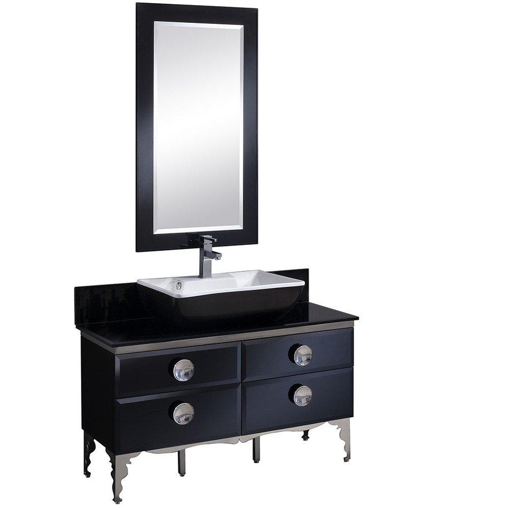 30 Off Fresca Fvn7714bl Fft9161ch Moselle Modern Glass Bathroom Vanity With Mirror 47 Black
