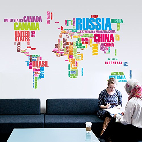 BIBITIME World Map Sticker Wall Decor Colorful USA Letters Country Name Art Mural Decal for Home Nursery Children Living Dining Room Televsion,48.03 29.13 IN