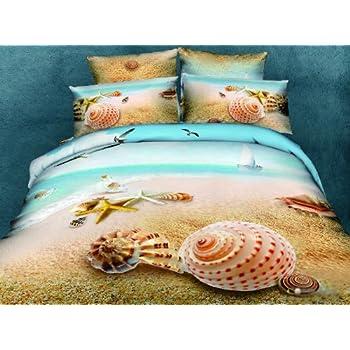 Delightful Cliab Beach Bedding Queen Beach Theme Bedding 3d Bedding Set Beach Duvet  Cover Set 100 Percent
