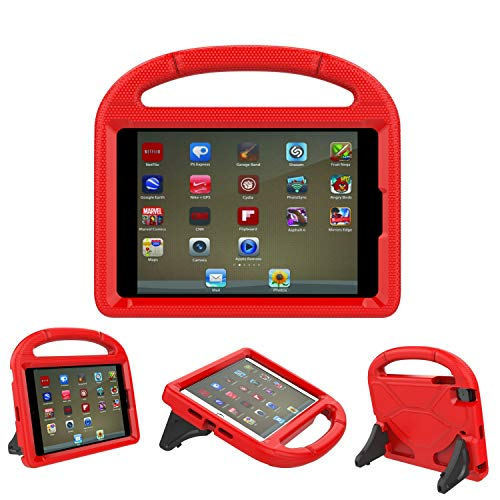 iPad 9.7 Case, iPad 9.7 Covers for Kids - ThreeJ Light Weight Portable Shockproof Super Protection Handle Stand Cover for iPad 9.7 2018/2017 (iPad 9.7-inch, Red)
