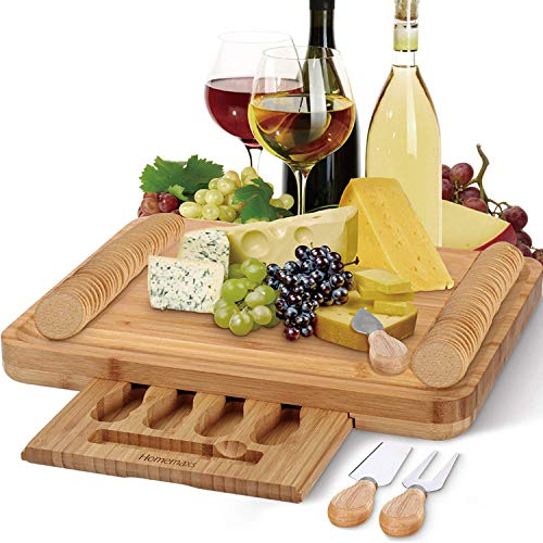 Home Cheese Kitchen Board (Bamboo Cheese Board with Cutlery Set, Larger and Thicker Charcuterie Platter & Meat Server with Slide-Out Drawer, 4 Stainless Steel Knife, Server Set - Beautiful Package Personalized Gifts)