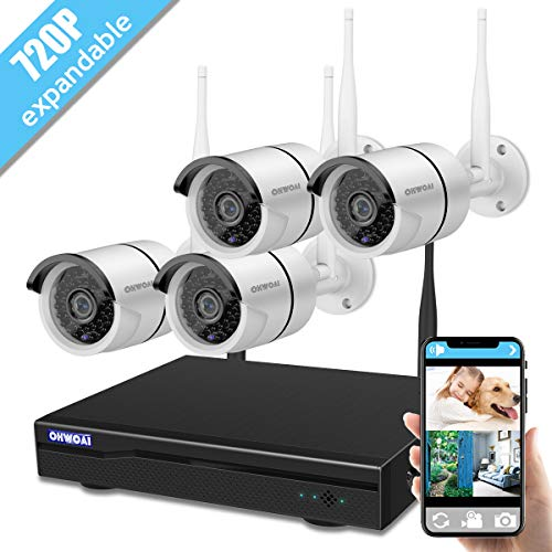 Wireless 8-Channel 1080P Security Camera System with 4pcs 720P Full HD Cameras,Home CCTV Surveillance System,Indoors&Outdoors IP Cameras+8CH House WiFi NVR Recorder,No Hard Disk Drive. ()