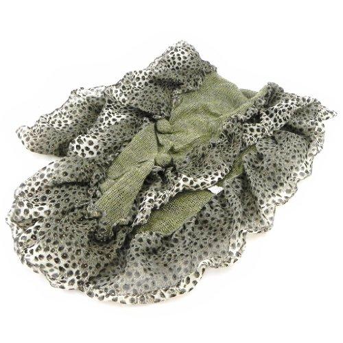 Les Trésors De Lily [I1871] - Echarpe créateur 'Queen Safari' kaki + broche