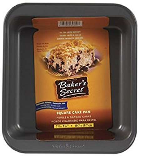 Baker's Secret Square Cake/Brownie Pan Set of 2 (two) Pans 7.75 in x 7.75 x 1.88 inch by World Kitchen