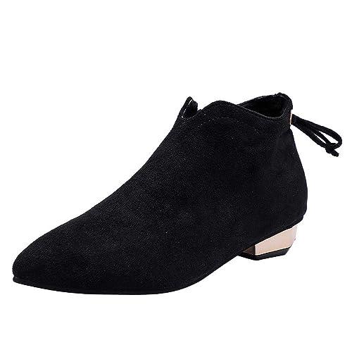 Logobeing Botines Mujer Tacon Planos Botas de Mujer Casual Plataforma Zapatos Moda Punta Estrecha Zapatos de