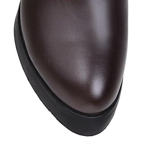 AllhqFashion Damen Blend-Materialien Rund Zehe Hoher Absatz Überknie Hohe Stiefel Stiefel Braun