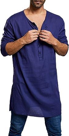 Camisa de Hombre Saudi Arab Kaftan Henley, Manga Larga, étnica, con Botones, Estilo Indio: Amazon.es: Ropa y accesorios