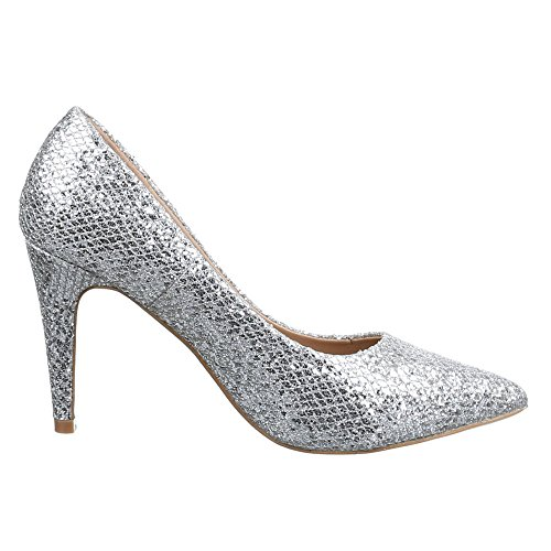 Ital-Design Damen Schuhe, B237Y-PB, Pumps High Heels Silber