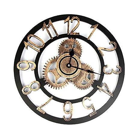 Doolland Reloj de Pared Retro Gear, 3D, Vintage, Grande, Reloj de Pared
