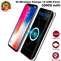 Wireless Power Bank, KUPPET Cargador Móvil Portátil Batería Externa 20000mAh Cargador Inalámbrico Rápido Power Bank con 3 Puertos & Entrada Doble y LED Display Portátil Wireless Charger para iPhone X,iPhone8+, Samsung Galaxy S9/S8/S7,Note 8, y Todos Móviles con QI